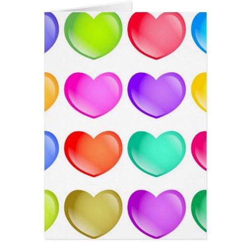 Formas del corazón tarjeta de felicitación