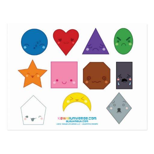 Formas del preescolar de Kawaii Postal