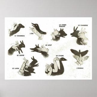 Formas francesas del vintage retro para las marion posters