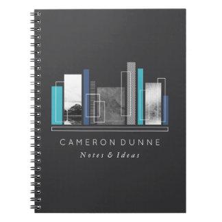 Formas geométricas azules y grises spiral notebooks