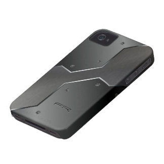 Formas geométricas de la mirada metálica gris iPhone 4 protectores