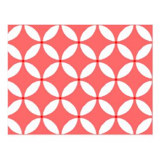 formas geometricas  em branco em fundo vermelho postcard