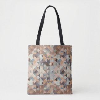 Formas geométricas modernas azules y beige por bolsa de tela
