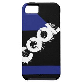 Formas geométricas negras y azules de la palabra iPhone 5 fundas