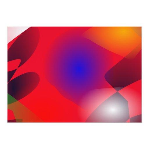 Formas irregulares en el fondo rojo invitación 12,7 x 17,8 cm