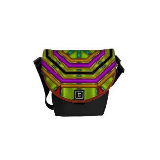Formas/modelos y monograma geométricos frescos bolsa de mensajería
