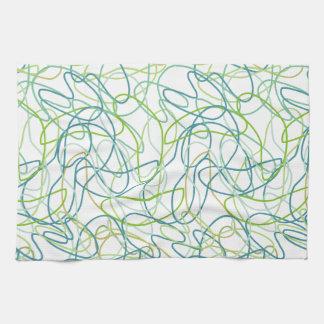 Formas orgánicas en trullo, oro, y verde en blanco toallas de mano