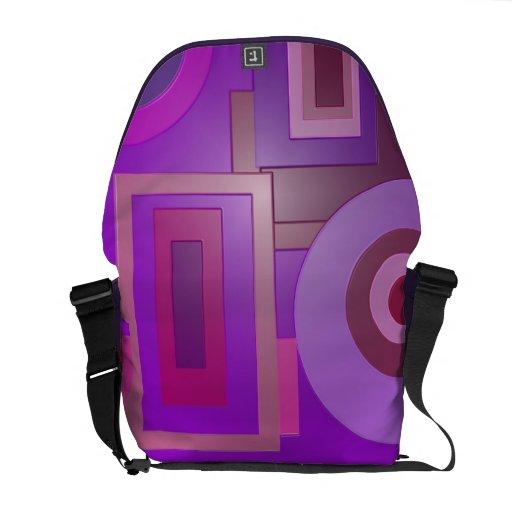Formas retras púrpuras bolsa messenger