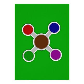 Formas rojas del átomo del verde azul de Circles_V Anuncios