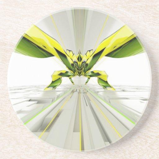 Formas verdes y amarillas abstractas posavaso para bebida