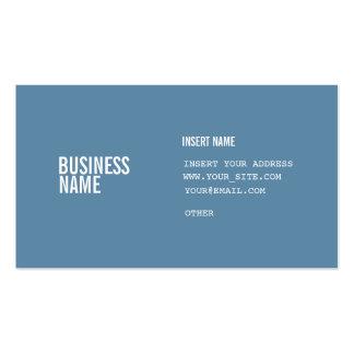 Formato azul con las fuentes condensadas blanco de tarjetas de visita