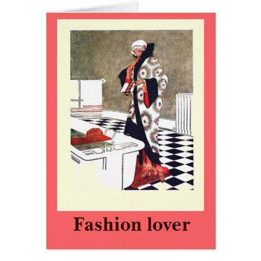 Forme al amante, 1928, la albornoz perfecta tarjeta de felicitación