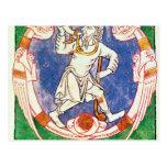 Forme de dos criaturas coas alas con entrelazado tarjetas postales