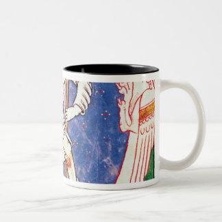 Forme de dos criaturas coas alas con entrelazado tazas de café
