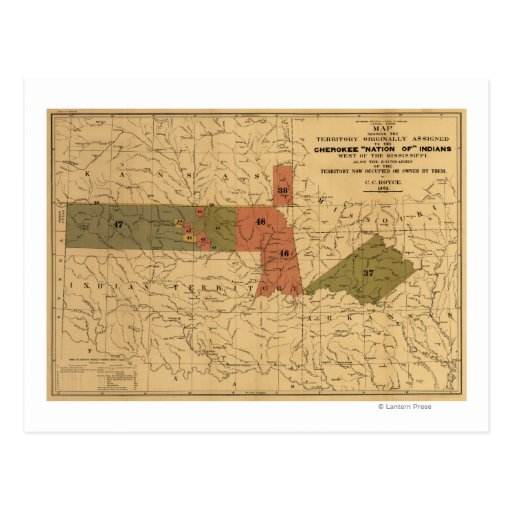 """Former Limits of Cherokee """"Nation of"""" Indians Postcard"""