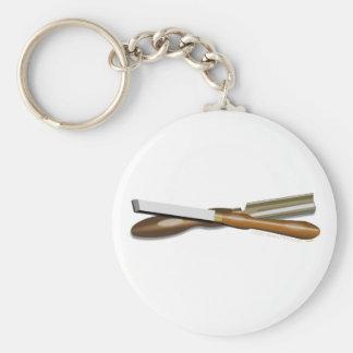 Formón cruzado herramientas y posición oblicua del llavero redondo tipo pin