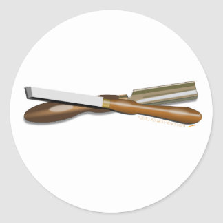 Formón cruzado herramientas y posición oblicua del pegatina redonda