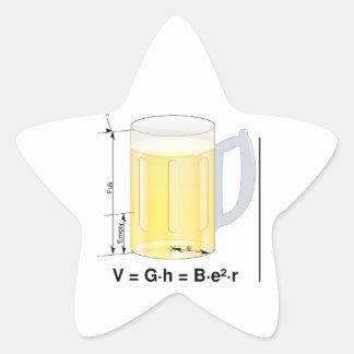 Fórmula/ecuación divertidas de la cerveza calcomanía forma de estrella personalizadas