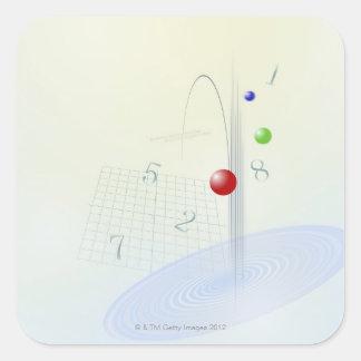 Fórmula, gráfico, símbolos 10 de la matemáticas pegatina cuadrada