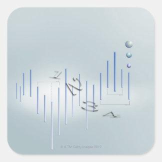 Fórmula, gráfico, símbolos 11 de la matemáticas pegatina cuadrada