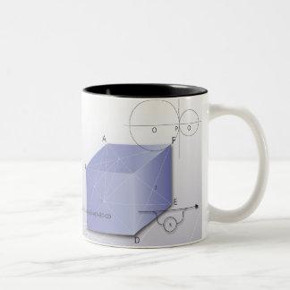 Fórmula, gráfico, símbolos 2 de la matemáticas taza de café de dos colores