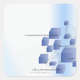 Fórmula, gráfico, símbolos 5 de la matemáticas pegatina cuadrada