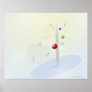 Formula, graph, math symbols 10 poster