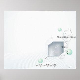 Formula, graph, math symbols 15 poster