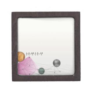 Formula, graph, math symbols 3 jewelry box