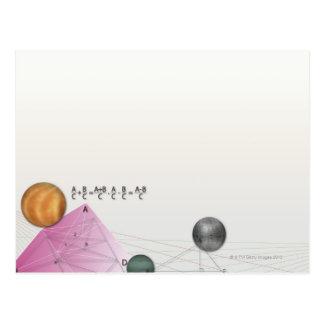Formula, graph, math symbols 3 postcard