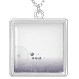 Formula, graph, math symbols 4 silver plated necklace