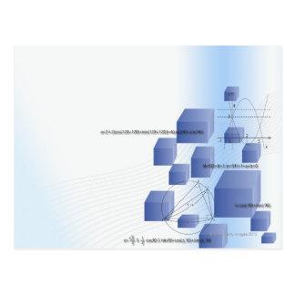 Formula, graph, math symbols 5 postcard