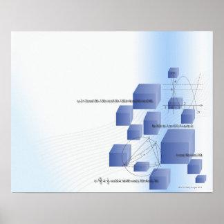 Formula, graph, math symbols 5 poster