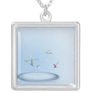 Formula, graph, math symbols 9 silver plated necklace