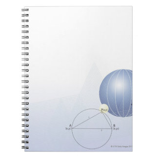 Formula, graph, math symbols notebook
