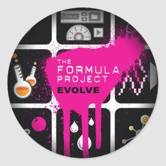 Formula Project Fade to Black Round Stickers