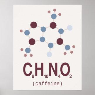 Fórmula química del cafeína impresiones