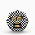 """Formula Race Car Trophy Award<br><div class=""""desc"""">Great looking standing acrylic award plaque,  with a black and white checkered background. Graphics of a gold tone race car trophy decorates the middle,  with custom text,  , on it&#39;s plaque reading #1.  Great all purpose race car trophy for birthday parties or special race theme occasions.</div>"""