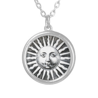 Fornasetti's Sun Anthropomorphized Silver Plated Necklace