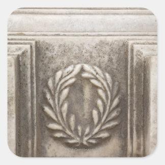 foro romano, diseño del laurel en el bloque de pegatina cuadrada