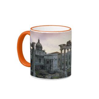 Foro romano en el amanecer taza a dos colores