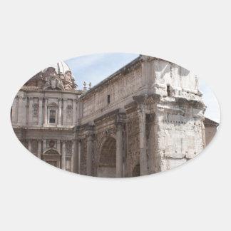 Foro romano en Roma, Italia Pegatina Ovalada
