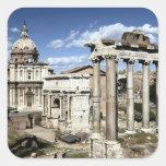 Foro romano, Roma, Italia Calcomanía Cuadrada