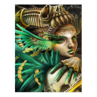 forrest-elf-green-girl-angel-carnaval postcard