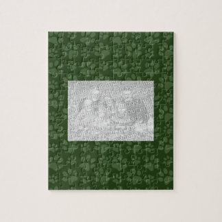 Forrest green dog paw print pattern jigsaw puzzles