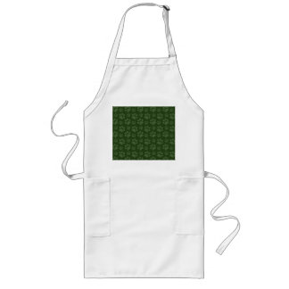Forrest green dog paw print pattern long apron
