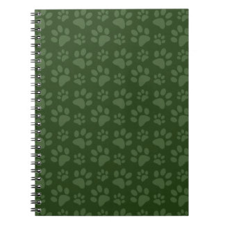 Forrest green dog paw print pattern notebook