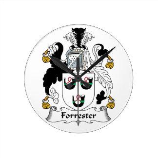 Forrester Family Crest Round Clocks