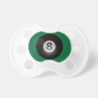Forro verde de la bola de los billares ocho chupetes de bebe