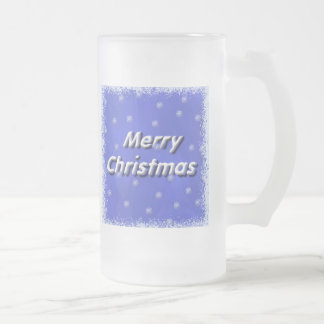 Forsty Merry Christmas Frost Frosted Glass Beer Mug